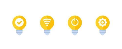 icone luminose a led intelligenti su bianco vettore