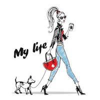 ragazza alla moda cammina con un piccolo cane. grafica elegante. vettore