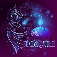 """felice """"Diwali. biglietto di auguri vacanza indiana. vettore"""