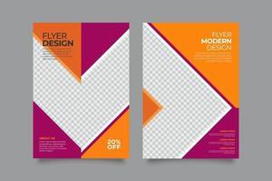 modello di volantino aziendale moderno creativo arancione e magenta vettore