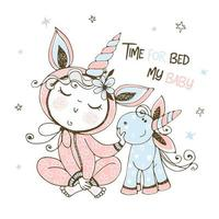bambino in pigiama con il suo giocattolo unicorno vettore