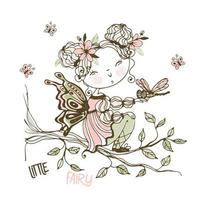 una piccola fata carina con una libellula vettore