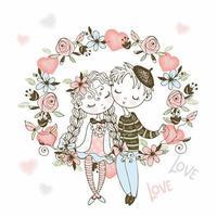 ragazza e ragazzo innamorato siedono in un arco di fiori
