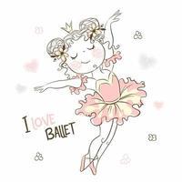 ragazza carina piccola ballerina che balla in tutù rosa vettore
