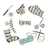 un insieme di elementi sul tema del lavoro a maglia.
