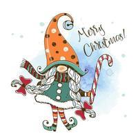 cartolina di Natale con uno gnomo nordico ragazza carina