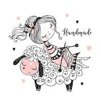 una ragazza carina si siede su una pecora