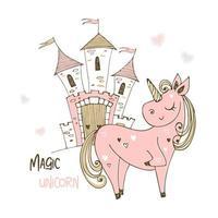 unicorno carino e castello fatato. vettore