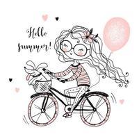 una ragazza con il suo animale domestico va in bicicletta