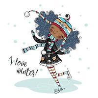 carina ragazza nera con un cappello lavorato a maglia pattinaggio in inverno. vettore