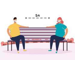 coppia pratica di allontanamento sociale nel parco vettore