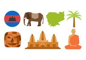 Vettore libero delle icone di viaggio della Cambogia