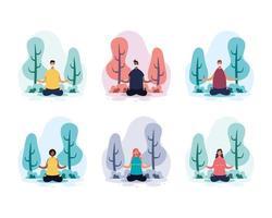 persone che praticano yoga al parco vettore