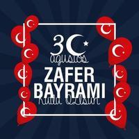 scheda di celebrazione di zafer bayrami con bandiera turca