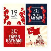 zafer bayrami e ataturk set di carte per celebrazioni turche