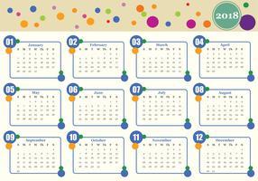 Modello di vettore del calendario mensile stampabile 2018