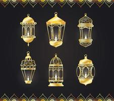 lampade in stile arabo appesi set di icone vettore