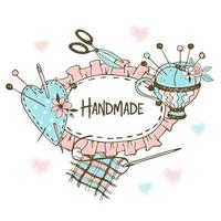 cornice con balza in stile doodle con accessori da cucito.