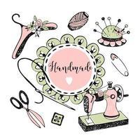 cornice in stile doodle con volant e accessori per cucire.