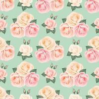 seamless di rose e foglie arrossire vettore