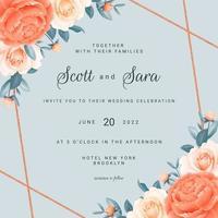 modello di carta di nozze cornice floreale angolo rose vettore