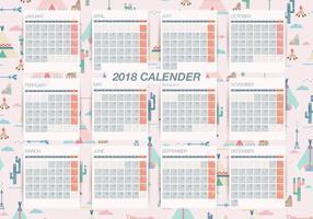 Vettore mensile stampabile del calendario del fondo del modello