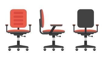 set sedia da scrivania isolato su bianco vettore