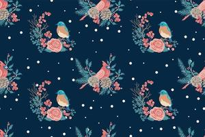 modello senza cuciture di uccelli e fiori di inverno vettore