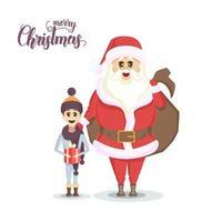 santa e ragazzo felice con regalo di Natale vettore