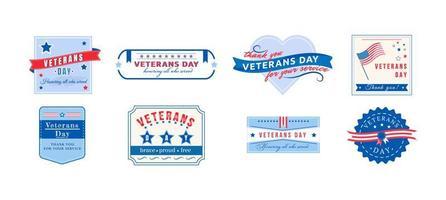 set di badge del giorno dei veterani americani