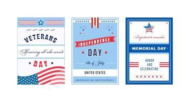 set di poster del giorno della celebrazione americana