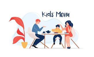 menu per bambini al tavolo