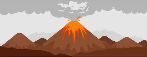scena di eruzione del vulcano