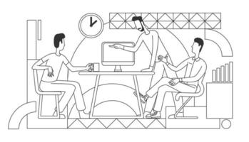stile di linea sottile del processo di lavoro vettore