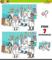 gioco delle differenze con il gruppo di scienziati dei cartoni animati vettore