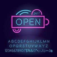 luce al neon aperta 24 ore vettore