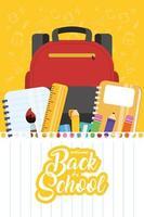 poster di ritorno a scuola con zaino e forniture