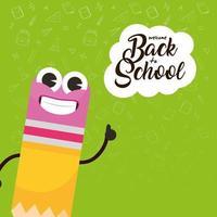 torna a scuola poster con carattere matita kawaii vettore