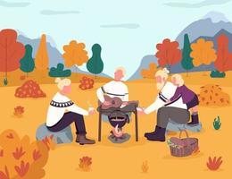 picnic nella campagna autunnale vettore