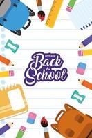 torna a scuola poster con materiale scolastico