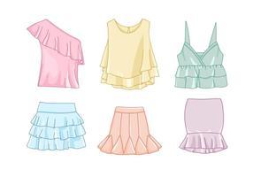 Illustrazione di vestiti frilly vettore