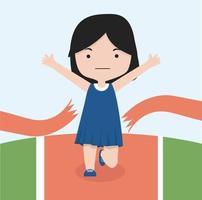 piccola ragazza jogging gara di maratona vettore