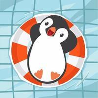 pinguino che nuota in piscina vettore