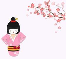 simpatica bambola giapponese con ramo di ciliegio