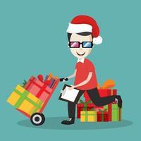 fattorino utilizzando il carrello di consegna in scatole regalo