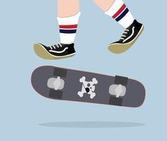 skateboarder con vettore di skateboard