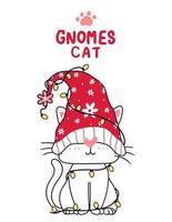 simpatico cartone animato gatto gnomo con luci di Natale vettore