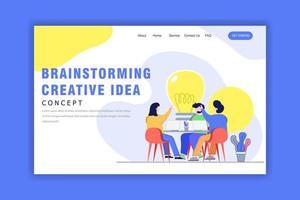modello di pagina di destinazione con team creativo di brainstorming