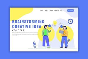 concetto di design piatto di brainstorming idea creativa vettore
