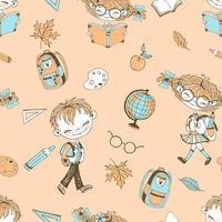 tema della scuola con accessori scolastici per ragazze e ragazzi.